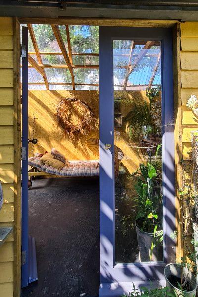 French doors to garage garden room