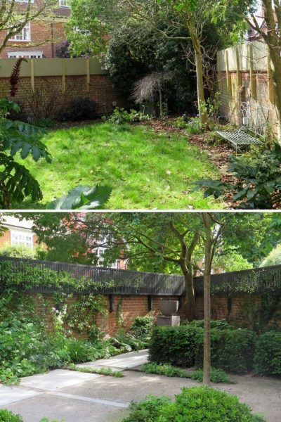 Planting across before and after garden design tips