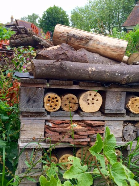 Log and brick insect hotel