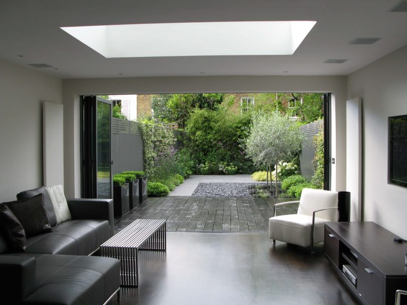 Use co-ordinated flooring inside and outside the house to make the space look larger