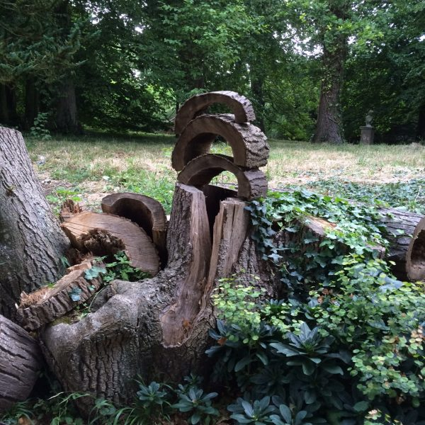 Tree trunk sculpture at Doddington Place Gardens