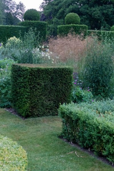 Topiary hedges and boxes at Doddington Place Gardens