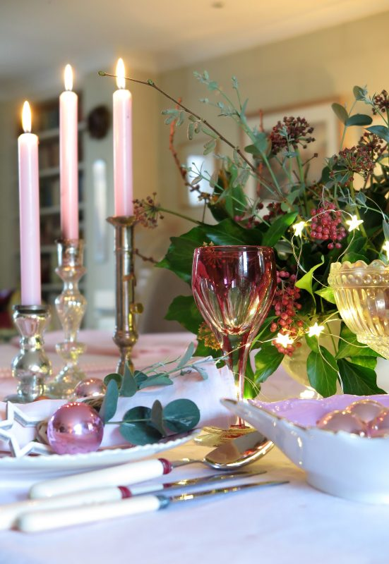 Pale pink Christmas table decorating look