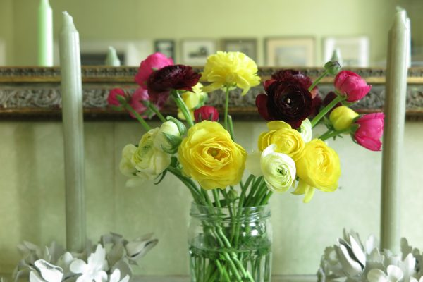 Mixed bunch of jam jar flowers