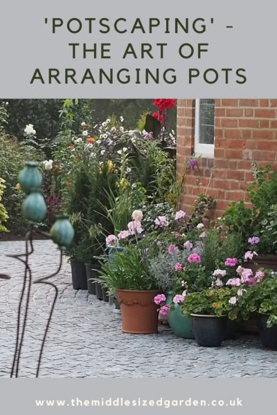 Potscape with garden planters