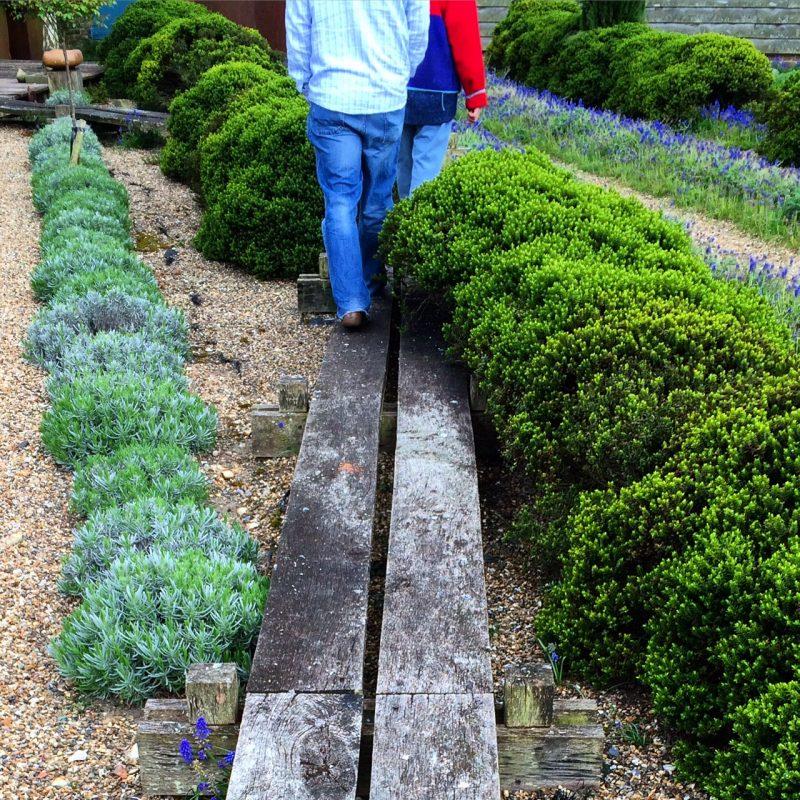 Pheasant Barn walkway path - raised planks are both informal and modern