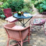 Buy odd chairs with a theme, such as these retro pink and red chairs.