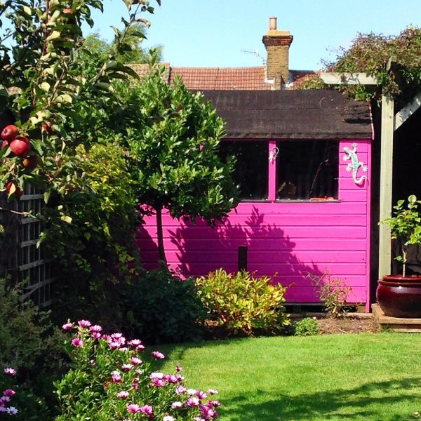 An eye-catching colour will transform your shed, like this brilliant pink