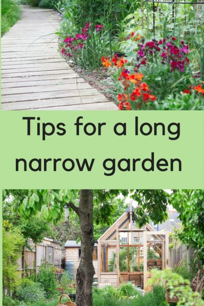 Long thin garden design, narrow garden planting tips, thin garden borders.