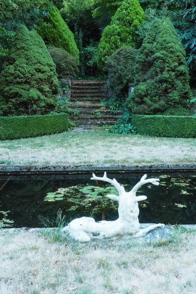 Classic stag sculpture around a pond with conifers #gardendesign #backyard