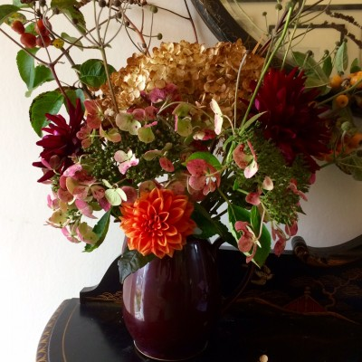 Hydrangeas will dry in the vase and last all winter