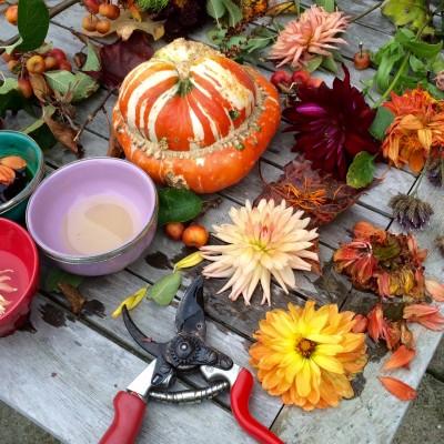 Fall flower arranging