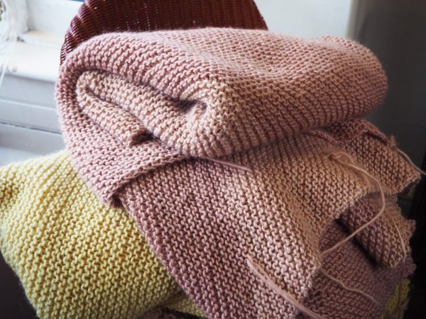 Wool blankets dyed with natural dye