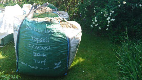 Seashell mulch in bags