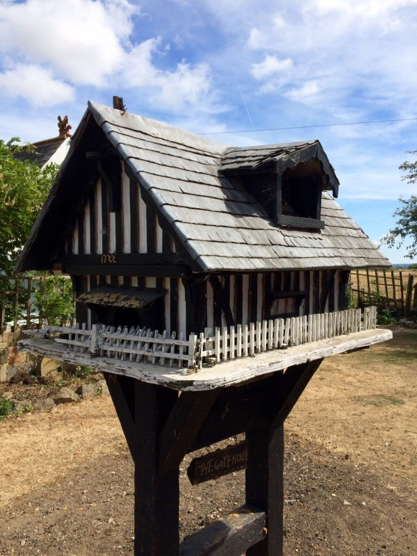 Tudor bird box and feeder.