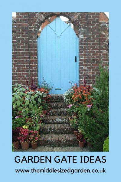 Blue painted garden door