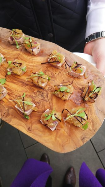 Canapes on the roof garden at the Ham Yard hotel