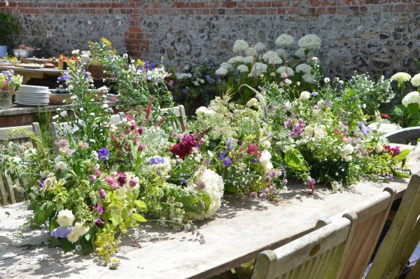 Flowers in the garden echo flowers in the vase