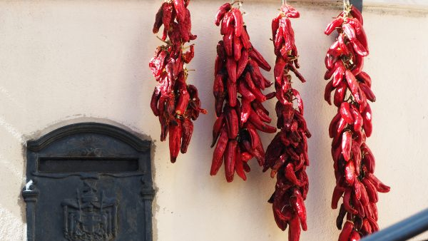 Dry chillies on strings