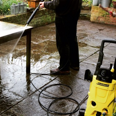 Using K4 pressure washer