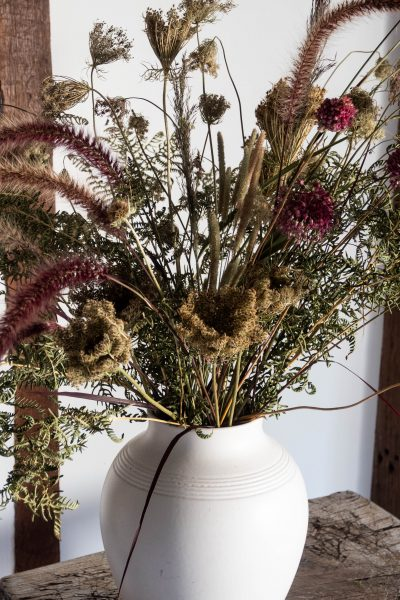 A contemporary dried flower arrangement