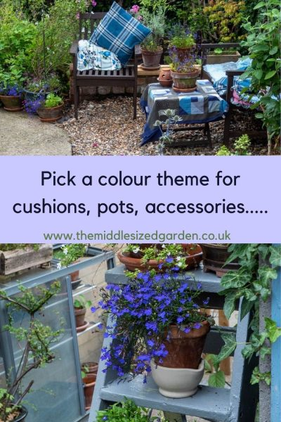 Colour theme pots, accessories and cushions