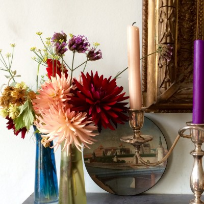 Candles and dahlias make fall beautiful