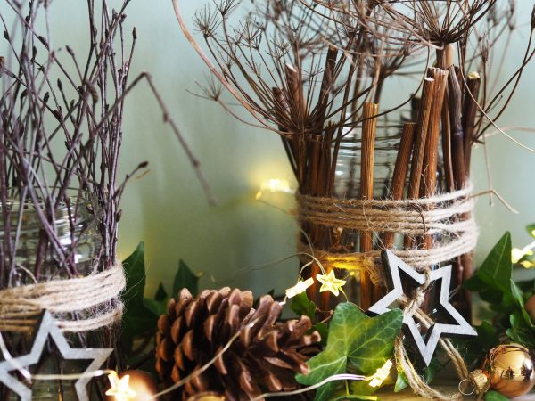 Jam jar Christmas decorations with dried fennel stalks