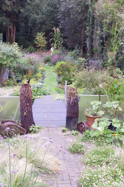 Recycle dead tree ferns as gateposts
