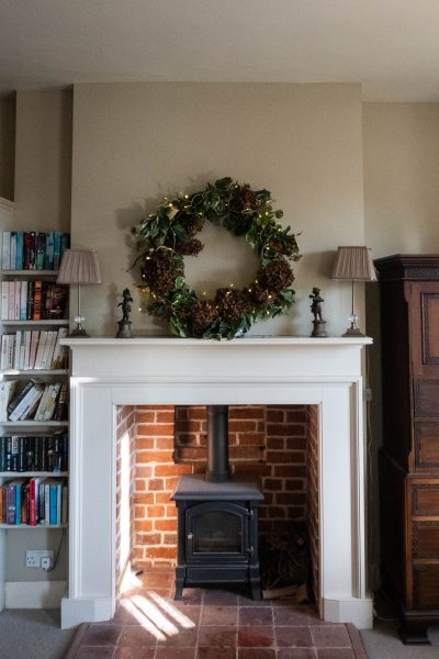 an extra large wreath for a mantelpiece