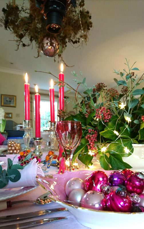 Bright pink Christmas table decorations