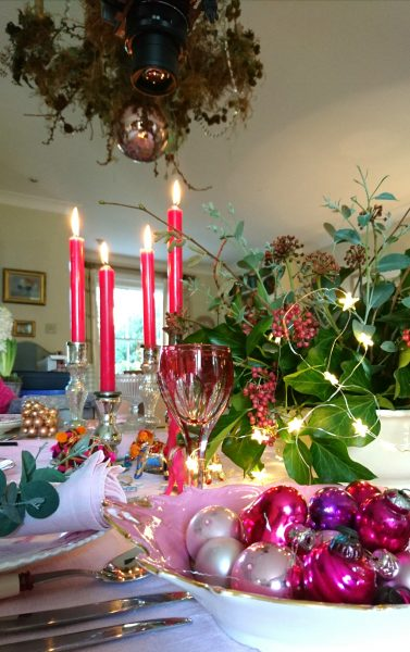 Jewel pinks and purples for gorgeous Christmas table decorations