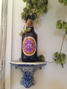 Hops in a beer bottle