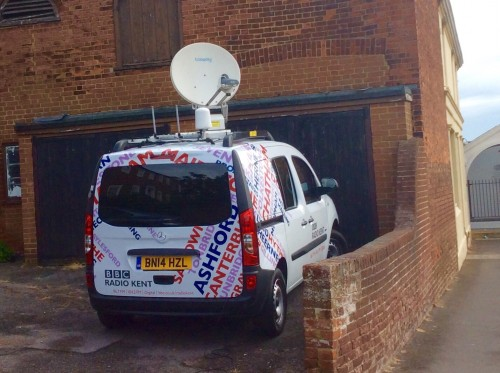 BBC outside broadcast van for BBC Radio GardeningKent