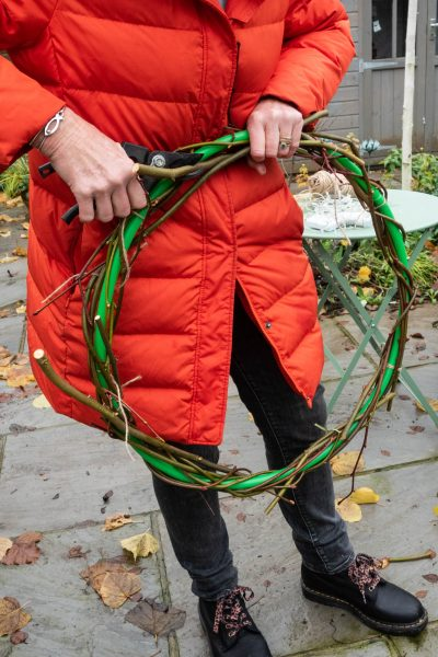 A child's hula hoop as a wreath base