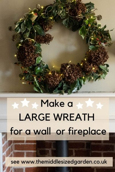 Make a large wreath for a wall or mantelpiece