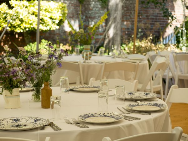Vintage china with white cloths