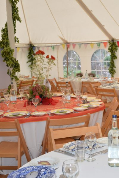 Add mis-matched tablecloths, china and vases to the plain white hired cloths. Garden party decorations #garden