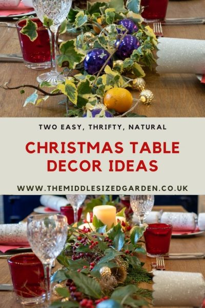 Easy, quick natural Christmas table decorations