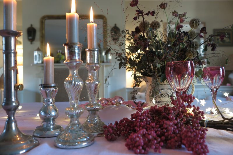Pink peppercorns for festive table decorations