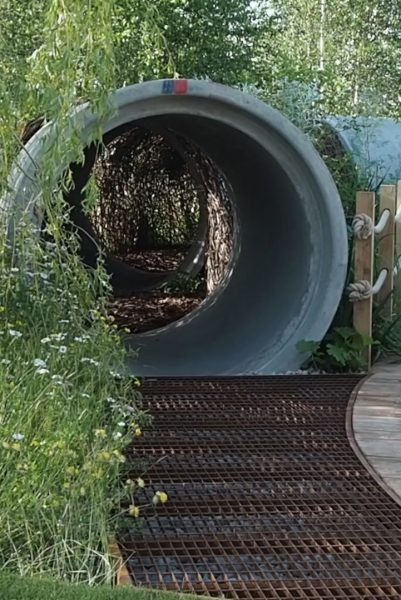 Curved pipe in the Thames Water Garden