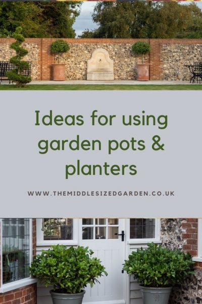 Matching pots to frame a doorway or water feature