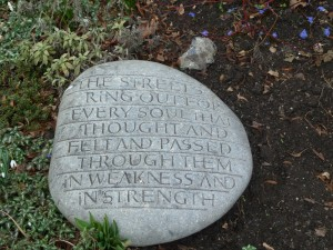 Stone carved poem in Canterbury