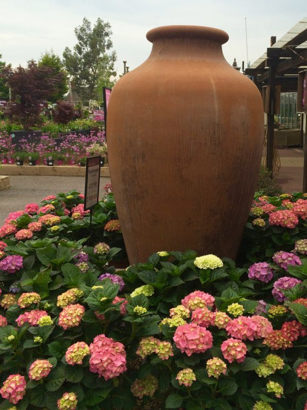 Use pots in a border as a focal point