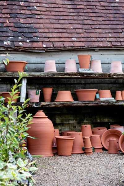 Pots for sale at the Great Dixter shop