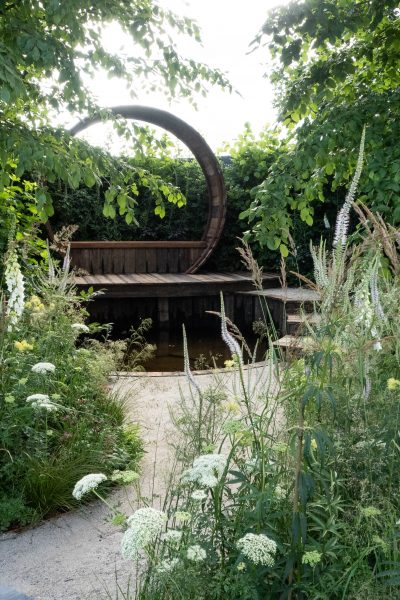 Curved timber steps at RHS Hampton Court Palace Garden Show