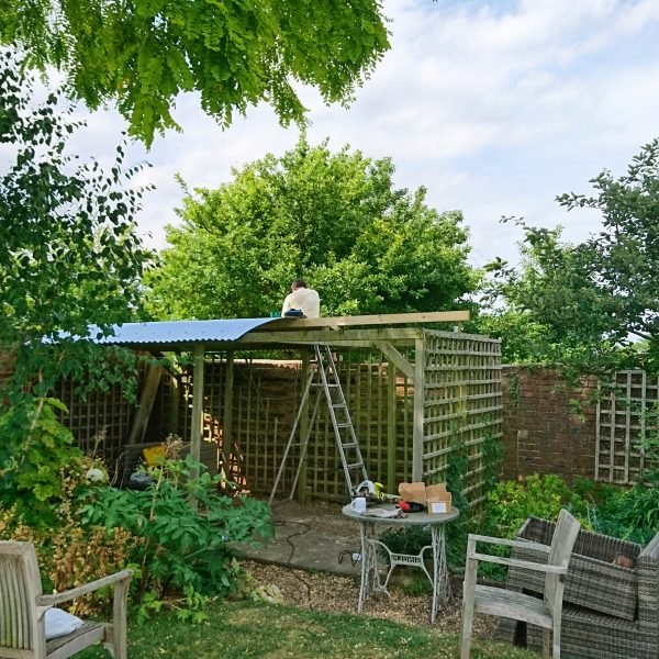 DIY corrugated iron pergola