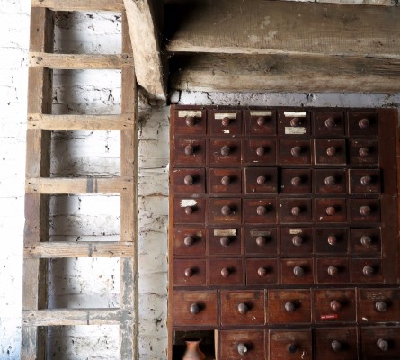 Old chemists cabinet for seed storage