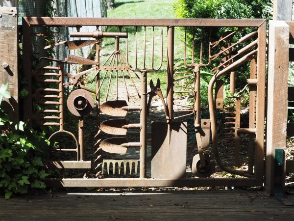Garden gate made of vintage tools