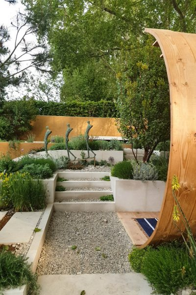 Stone and gravel garden steps